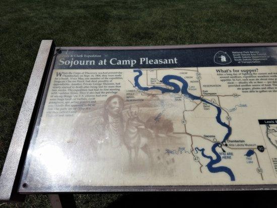 Chamberlain, SD: Camp Pleasant marker