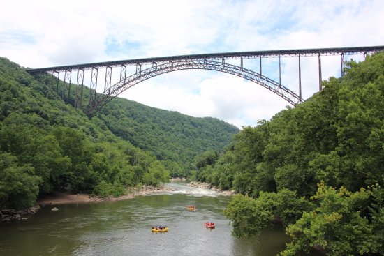 New River Gorge Bridge: View from the bridge at the bottom of the gorge