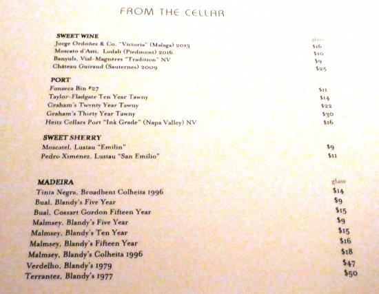 Charleston Restaurant: Dessert wines