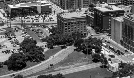 sixth floor museum formerly tx book depository in center of photo photo from atop reunion tow. Black Bedroom Furniture Sets. Home Design Ideas