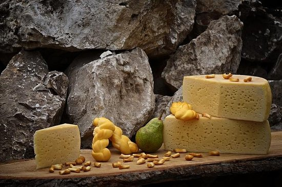 Traditional cheese wine and olive oil...