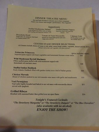 Lancaster, Estado de Nueva York: The dinner theatre menu