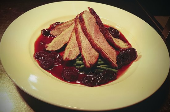 Mark, UK: Pan roasted duck breast with a black cherry and Kirsch sauce