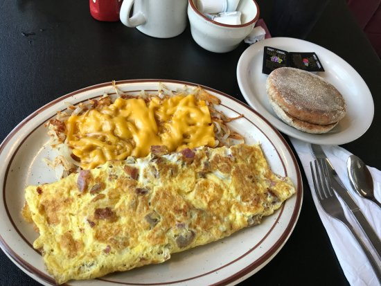 Mount Horeb, WI: omelette with cheese melted on hash-browns w English muffin