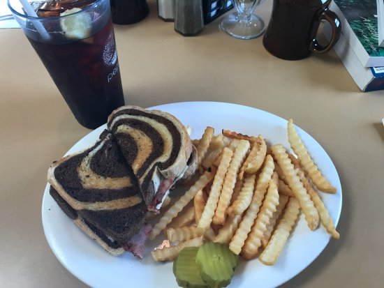 Mineral Point, WI: Grilled ham and swiss cheese on marble rye with fries