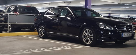Greystones, Ireland: Mercedes E Class parked at the designated chauffeur car park at Terminal 2, Dublin Airport