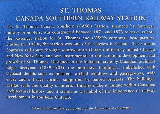 Saint Thomas, Καναδάς: Canada Southern Railway Station