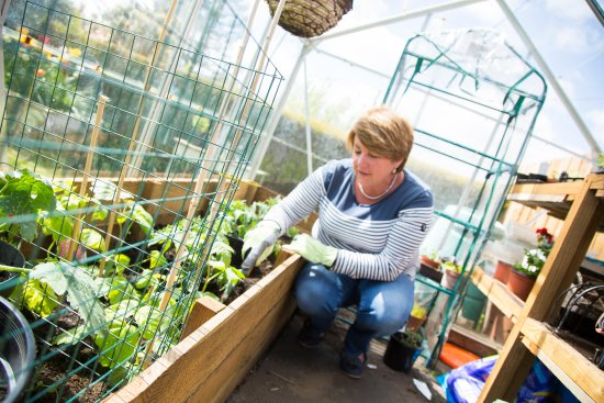 St. John's Town of Dalry, UK: Green fingered Angie tending the greenhouse.
