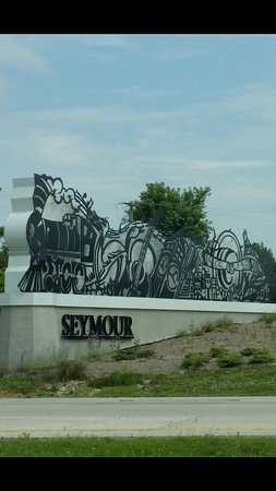 Sign as you enter Seymour, Indiana off of I-65
