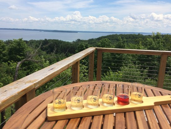 Suttons Bay, MI: View and our flight of ciders