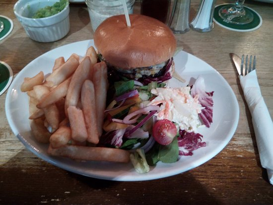 Swinside Inn, burger and chips