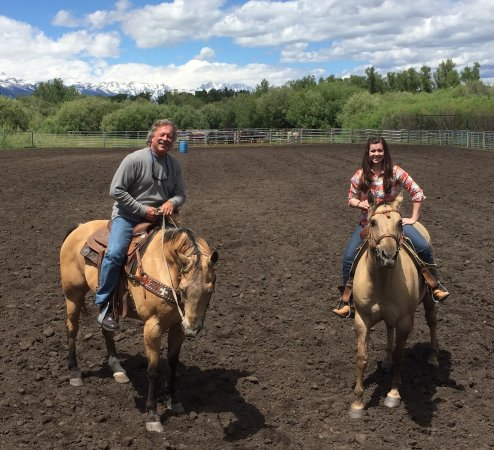 Wilson, WY: In the rodeo ring after lassoing, barrel racing and cutting a calf!
