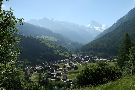 Les Hauderes village from a hiking trail . The hotel is in the center of town close to the churc