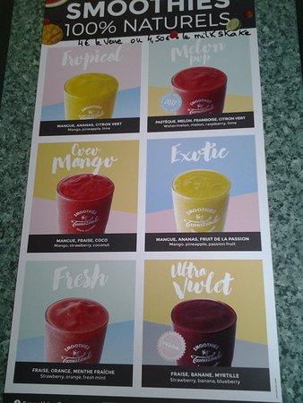 Vimoutiers, France: Notre carte de smoothies