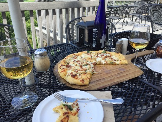 Dubuque, IA: The patio is a perfect place to enjoy a bottle of wine and wood-fired pizza.