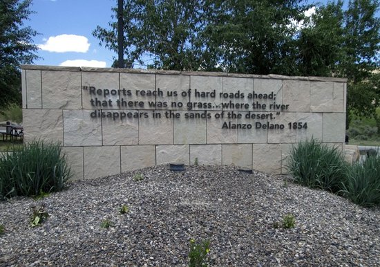 Elko, NV: One of the signs in front of the interpretive center.