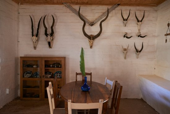 Wellington, Sør-Afrika: quirky skulls in the dining area are fun and apparently all found like this and not shot!