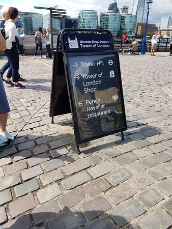 Perkin Reveller: Sign at exit of the Tower of London