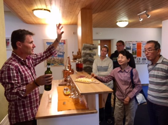 Hotel Edelweiss: Daniel explaining the cheese and wine he served at the evening tasting party!