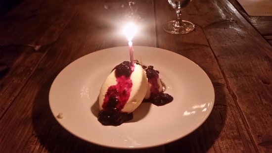 Litchfield's: Goat cheesecake with blueberries, mint and lemon zest ( it was my birthday dessert)