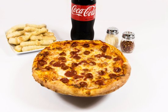 "Waterford, MI: Home of the Lucky Combo!  16"" Pizza, BreadSTIX and a 2 Liter Coke!"