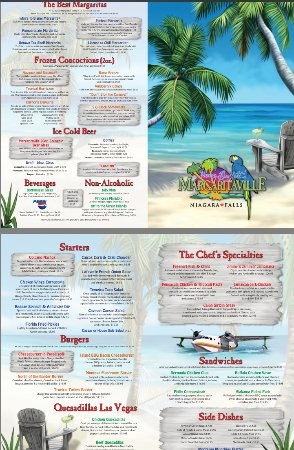 Menu - Picture of Jimmy Buffett's Margaritaville, Niagara