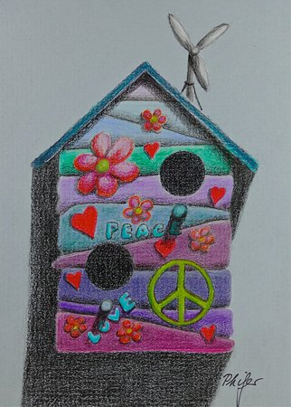 Pacific Beach, WA: Love & Peace, color pencil birdhouse drawing by Karin Phifer