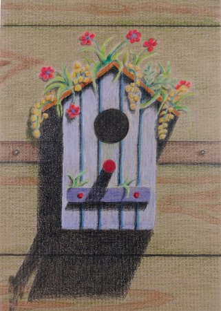 Pacific Beach, WA: Flower House, color pencil birdhouse drawing by Karin Phifer