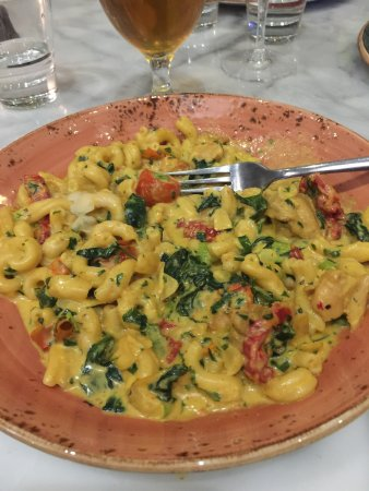 Mornington, Australia: Fantasia pasta. Curry based chicken pasta with spinach and tomato.