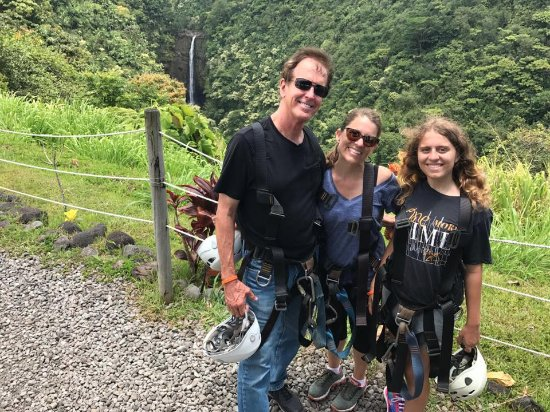 Skyline Eco Adventures - Akaka Falls: A photo at the end of the course, with Akaka Falls in the background. Best day ever!