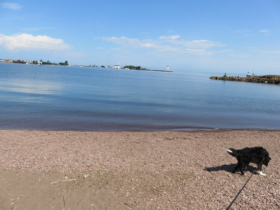 Grand Marais RV Park and Campground : Beach and boat access near picnic shelter.