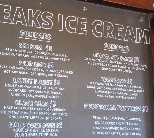 Sweet Peaks - Homemade Ice Cream: Sundaes Menu