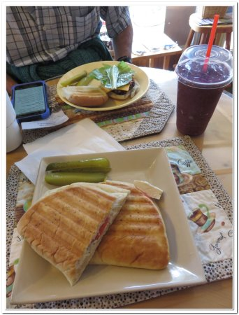 Manitowaning, Canadá: Creamy Chicken bacon panini, Mixed berry smoothie (has seeds because it's real fruit!)