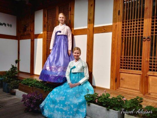 Suwon, South Korea: Canadian Tourist trying Korea Costume.