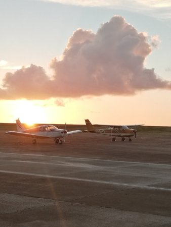 Barrigada, Mariana Islands: sunset with airplanes