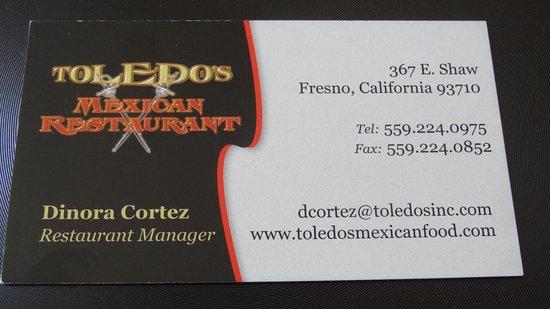 Toledos Mexican Restaurant Carte De Visite Du