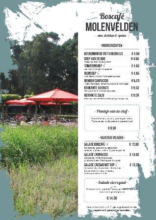 Veldhoven, Nederland: Menukaart Boscafe Molenvelden
