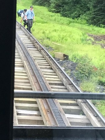 Bretton Woods, NH: workers near tracks