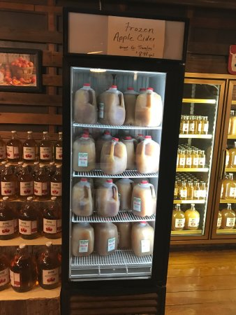 The Apple Barn Cider Mill And General Store: Frozen jugs of cider at Apple Barn General Store
