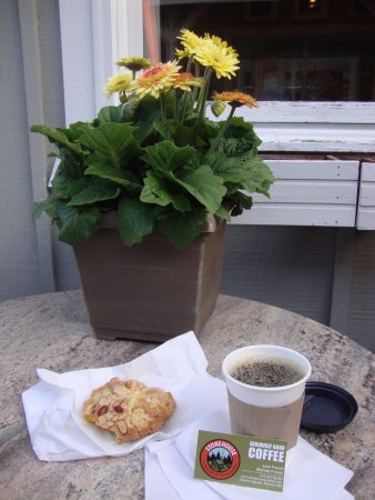 Nisswa, MN: Peach scone and coffee served outdoors!