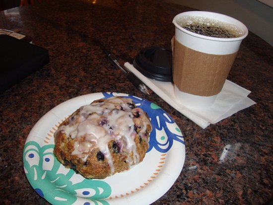 Nisswa, MN: A beautiful blueberry scone with Costa Rican coffee!