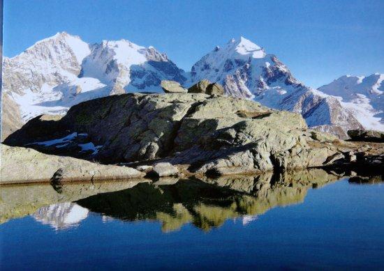 Silvaplana, Suisse : die Bernina-Gruppe spiegelt sich im See