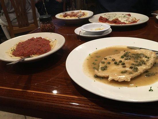 Wellington, FL: chicken picatta ~ angel hair w/meat sauce & shrimp parm w/spaghetti w/ meat sauce