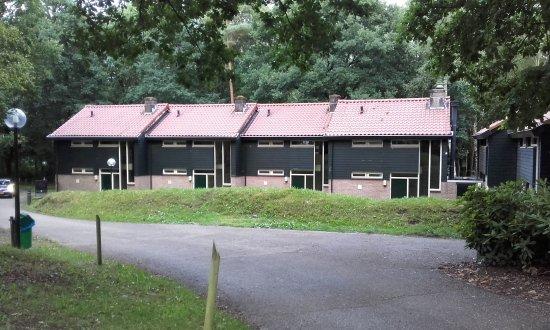 """Beekbergen, Holandia: de """"chalets"""" waarin de hotelkamers zijn, achter het hoofdgebouw"""