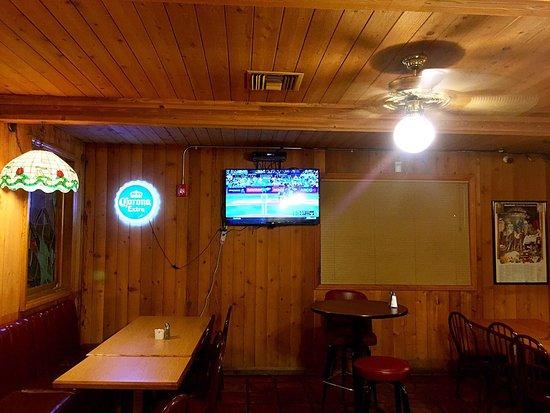 Steer N Stein: Back room with TV.