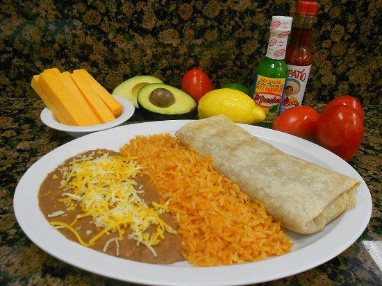 Norwalk, CA: Meat, Bean & Cheese Burrito Plate: Choice of Barbacoa, Carnitas, or Pollo; Carne Asada