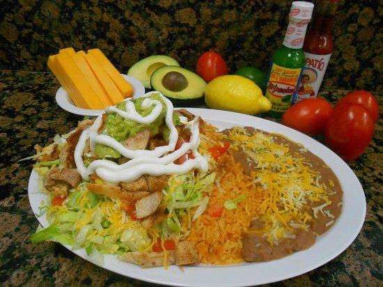 Norwalk, CA: Tostada: Choice of Barbacoa, Carnitas, or Pollo; Carne Asada