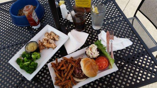 Bloomsburg, PA: veggie burger, sides, chicken breast..