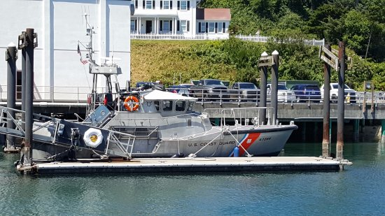 Newport's Historic Bayfront: Coast guard boat - can be flipped upside down and will right itself.
