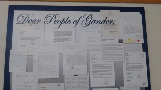 Wall of thanks to people of Gander for their generosity on 9/11